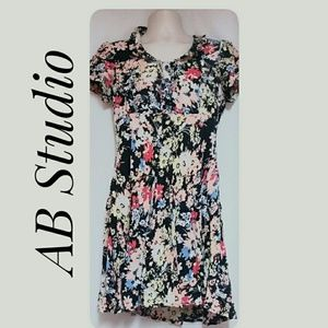 AB Studio Black Floral Mini-Dress Size 12